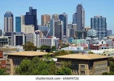 MELBOURNE, AUSTRALIA -7 DEC 2016- Day view of the Melbourne City Centre central business district (CBD) skyline. Melbourne, in Victoria, is the second largest city in Australia.