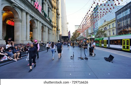 MELBOURNE, AUSTRALIA -7 DEC 2016- Holiday Christmas decorations on the Bourke Street Mall in the Melbourne City Centre central business district (CBD) in Australia.