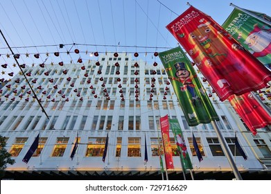 Melbourne Australia  Holiday Christmas Decorations On The Bourke Street Mall