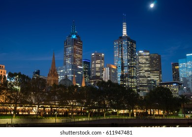 MELBOURNE AUSTRALIA 7 MARCH 2017 : night light with urban life near South bank area close yarra river with Building and cloudy day near melbourne australia