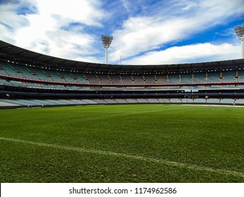 Melbourne, Australia - 7th September, 2017: View of the Melbourne Cricket Ground with its vast lush green field and empty stands