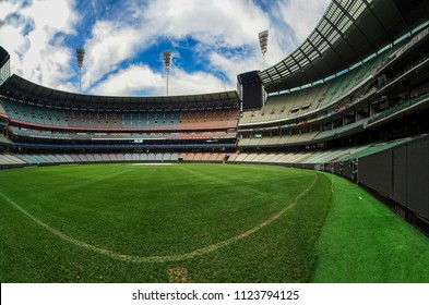 Melbourne, Australia - 8th October, 2017: Wide-angle view of the Melbourne Cricket Ground (MCG) captured from the field, and the vast empty stands of this colossal stadium on a non-sporting day
