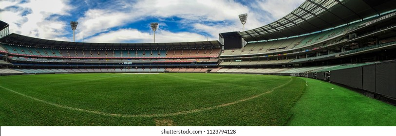 Melbourne, Australia - 8th October, 2017: Panoramic view of the Melbourne Cricket Ground (MCG) and the vast surrounding stands of this colossal stadium, on a non sporting day