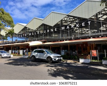Melbourne, Australia: April 06, 2018: Street view of South Melbourne Market which opened in 1867. The multifaceted rooftop car park captures rainwater and generates solar electricity.
