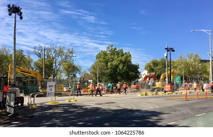 Melbourne, Australia: April 08, 2018: Construction workers on site at the Renewal and Maintenance program by Yarra Trams on St Kilda Road tramway, Melbourne.