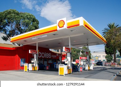 Melbourne, Australia: April 08, 2018: Shell petrol station with a Coles Express convenience store attached in the suburb of St Kilda.