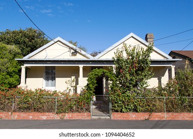 Melbourne, Australia: April 09, 2018: A detached double fronted house with a verandah in a St Kilda suburb. Property is very expensive and sort after in this district.
