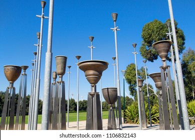Melbourne, Australia: April 09, 2018: Federation Bells is an installation comprising 39 upturned bells. Located in Birrarung Marr Park, Melbourne. They were created for celebrations of the centenary o