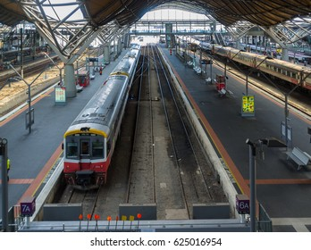 Melbourne, Australia - April 1, 2017: Southern Cross Railway station patforms on Spencer Street in Melbourne CBD