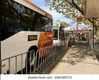 Melbourne, Australia: April 10, 2018: Yarra Trams have provided replacement buses during the disruption of the Renewal and Maintenance program on St Kilda Road.