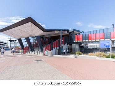 Melbourne, Australia - April 10, 2018: Footscray metro train station in Melbourne, Australia.