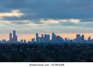 Melbourne, Australia - April 11, 2016: View of downtown Melbourne with modern buildings during sunset. Melbourne is one of the most liveable cities in the world.