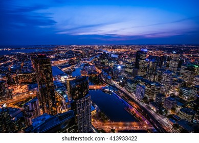 Melbourne, Australia - April 13, 2016 : Cityscape of Melbourne. Melbourne is the capital and most populous city in the Australian state of Victoria, and the second most populous city in Australia.