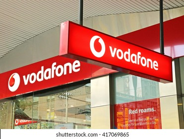 MELBOURNE, AUSTRALIA - April 13, 2016: Vodafone is a British multinational telecommunications company based in London. It has branches across the world such as this one in Bourke Street, Melbourne