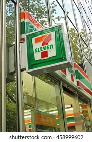 MELBOURNE, AUSTRALIA - April 13, 2016: 7-Eleven (7-11) is an international chain of convenience stores that operates branches in 17 countries including this one in Collins Street, Melbourne, Australia