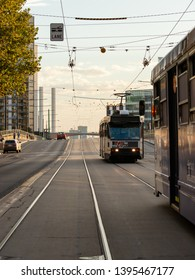 Melbourne, Australia - April 16, 2019: View of one tram behind another tram at Melbourne CBD.