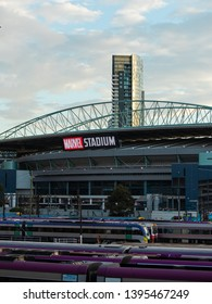 Melbourne, Australia - April 16, 2019: Marvel Stadium view with trains on the foreground.
