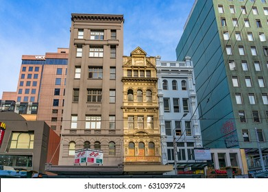 Melbourne, Australia - April 17, 2017: Melbourne heritage buildings on Elizabeth street, Elizabeth Chambers and Excelsior house