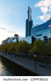 Melbourne, Australia - April 17, 2019: Eureka and pwc building at Southbanks.