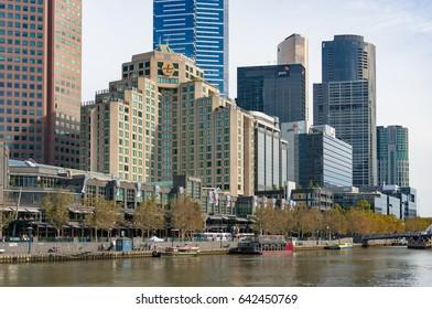 Melbourne, Australia - April 20, 2017: Melbourne Southbank cityscape with Langham hotel on sunny autumn day