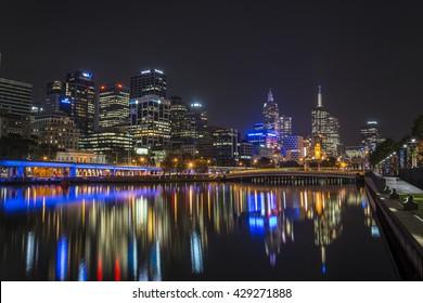 MELBOURNE, AUSTRALIA - APRIL 2014: Skyline by night