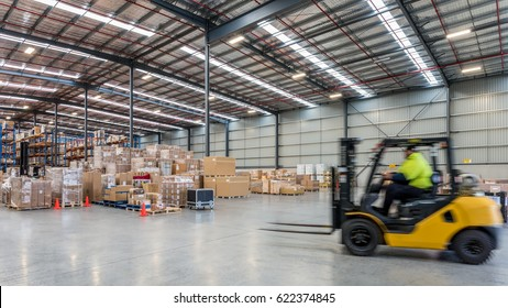 Melbourne, Australia - April, 2016:Interior of warehouse. A warehouse is a commercial building for storage of goods.