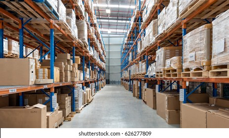 Melbourne, Australia - April 2016:Interior of warehouse. A warehouse is a commercial building for storage of goods.