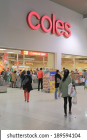 MELBOURNE AUSTRALIA - APRIL 21, 2014: Unidentified people shop at Coles Supermarket. Coles, is an Australian supermarket chain owned by Wesfarmers founded in 1914.