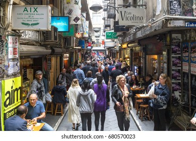Melbourne, Australia - April 21, 2015: The busy Centre Place alley filled with people