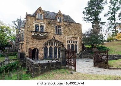 Melbourne, Australia - April 23, 2015: the Great Hall of the Montsalvat artist colony in outer suburban Eltham was commenced in 1938. It is a popular wedding venue.