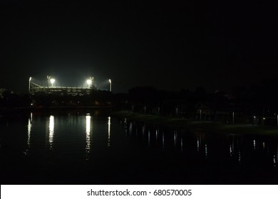 Melbourne, Australia - April 24, 2015: Melbourne Cricket Ground by night illuminated for a match.