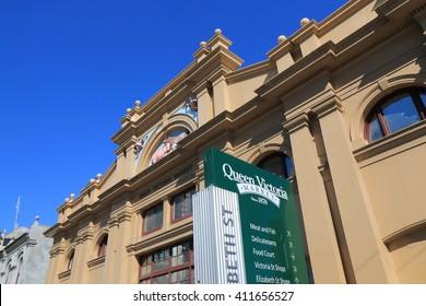 MELBOURNE AUSTRALIA - APRIL 24, 2016: Queen Victoria Market in Melbourne. Queen Victoria Market is the largest open air market in the Southern Hemisphere.