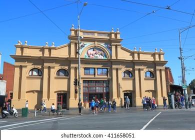 MELBOURNE AUSTRALIA - APRIL 24, 2016: Unidentified people vist Queen Victoria Market in Melbourne. Queen Victoria Market is the largest open air market in the Southern Hemisphere.