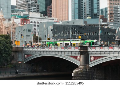Melbourne, Australia - April 26, 2018: Tram at Princes Bridge.