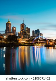 Melbourne, Australia - April 28, 2018: Melbourne CBD view with Evan Walker bridge at dawn.