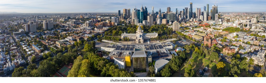Melbourne Australia April 3rd 2019 : Aerial panoramic views of the beautiful Melbourne Exhibition building in Carlton, with the cbd in the background