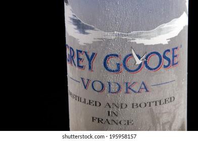 MELBOURNE, AUSTRALIA - APRIL 6,2014: Grey Goose vodka bottle...Grey Goose is a premium vodka brand produced in France