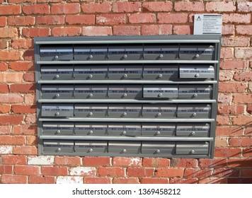 Melbourne, Australia. April 7 2019. No Junk Mail warnings on apartment block mailboxes.