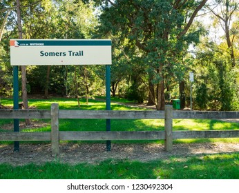 Melbourne, Australia - April 8, 2017: Somers Trail is a suburban linear park in Mitcham, in the City of Whitehorse in suburban Melbourne. It is popular with dog owners.