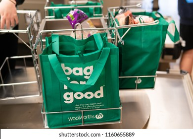 Melbourne, Australia - Aug 10, 2018: Reusable shopping bags for sale in Woolworths Supermarket. Bag for good.