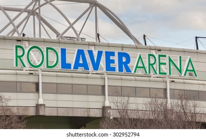 Melbourne, Australia - Aug 2, 2015: Close-up view of the sign of Rod Laver Arena in Melbourne, Australia. It is a multipurpose arena and the main venue for the Australian Open in tennis.