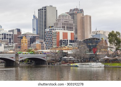 Melbourne, Australia - Aug 2, 2015: View of buildings in downtown Melbourne in winter