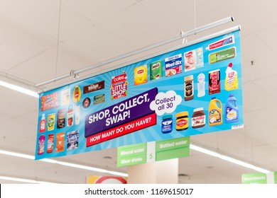 Melbourne, Australia - Aug 21, 2018:  Little shop miniature product toy collection promotion in Coles supermarket.