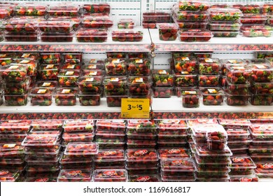 Melbourne, Australia - Aug 21, 2018:  Fresh strawberries for sale in Coles. Too many strawberries this year, very cheap in supermarket.