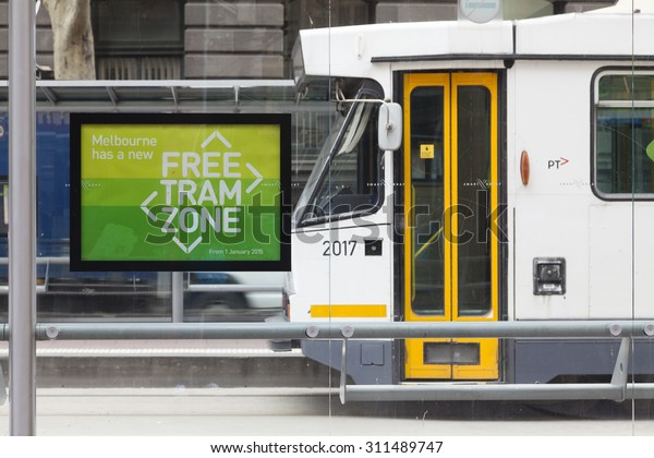Melbourne, Australia - Aug 29, 2015: Free tram zone sign in a tram station in downtown Melbourne, Australia. Travel on trams within this zone is free.