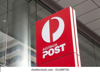 Melbourne, Australia - Auguest 28, 2015: Sign of Australia Post outside its office in Bourke Street, Melbourne