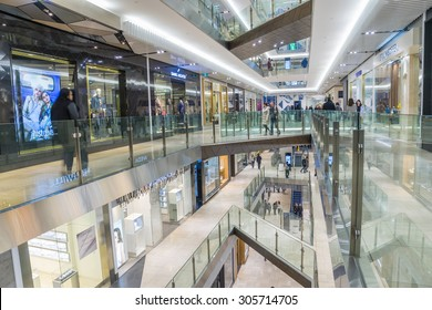 Melbourne, Australia - August 1, 2015: Interior of Emporium Melbourne, a premier shopping centre with flagship stores over seven levels in the heart of Melbourne's CBD.