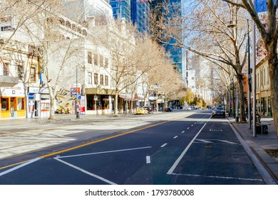 Melbourne, Australia - August 10, 2020: Collins St in Melbourne is quiet and empty during the Coronavirus pandemic and associated lockdown.