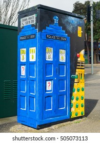 Melbourne, Australia - August 12, 2016: VicRoads has had artists decorate its traffic light controller boxes to improve streetscape and deter graffiti, including this Dr Who themed box in Box Hill.