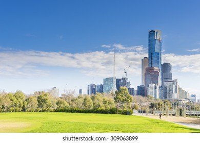Melbourne, Australia - August 15, 2015: View of the Southbank of downtown Melbourne, Australia in the daytime.